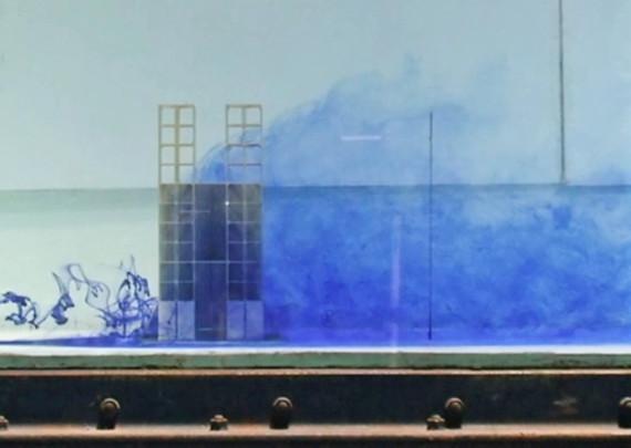 湧昇イメージ(水槽実験):複雑な渦流を生みだす魚礁のイメージ