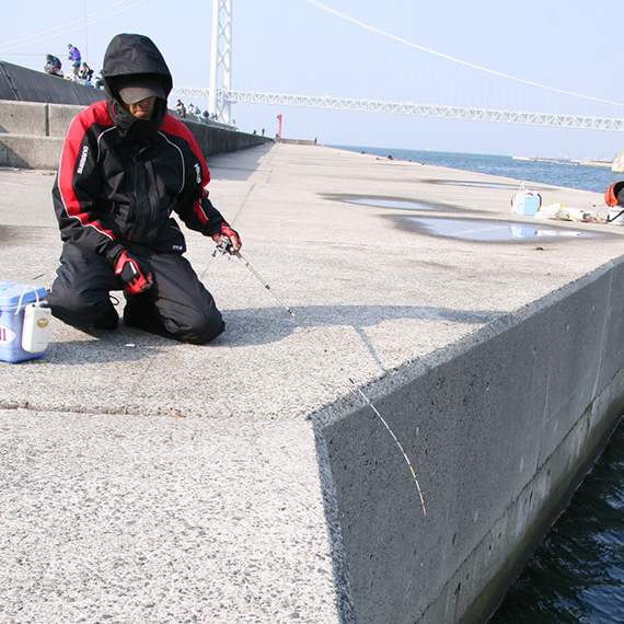 防波堤や護岸の壁際