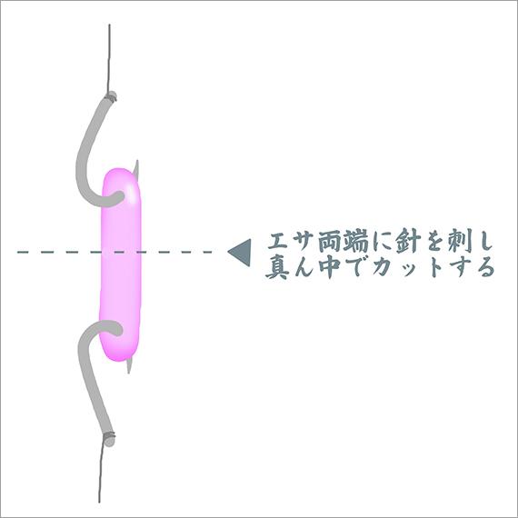 10_ワカサギのエサ(サシ虫)カット方法