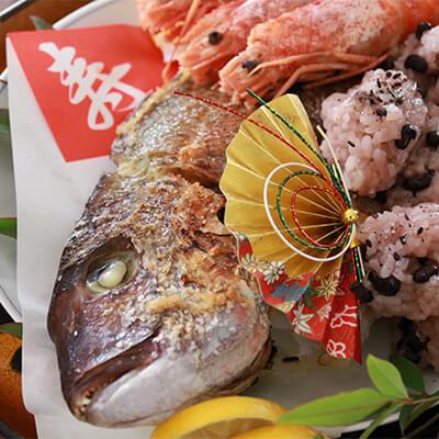 12_縁起物.jpg 祝いの席のマダイ料理