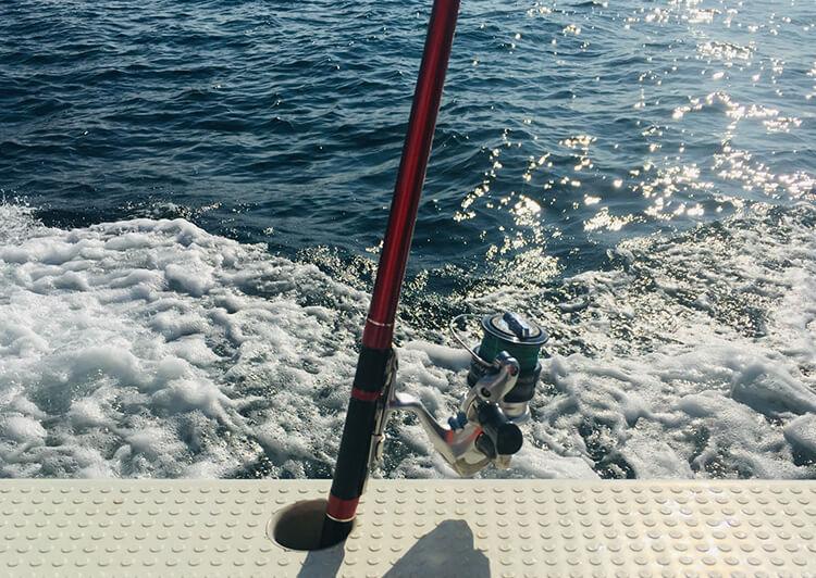 船縁 海 釣り竿