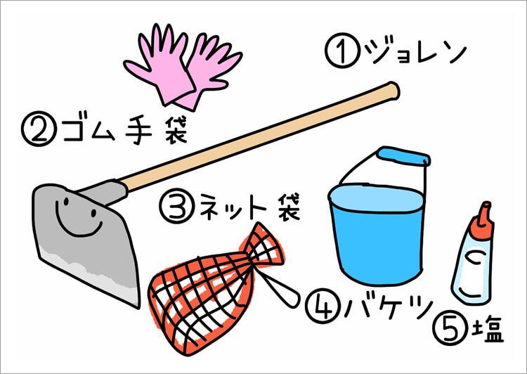 03_ マテ貝採りの道具